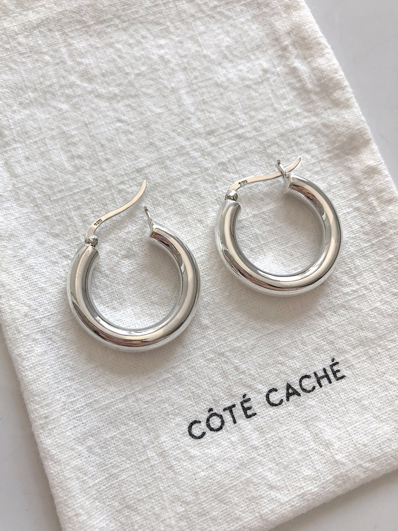 SILVER CREOLE CHUNKY HOOP EARRINGS (Large)