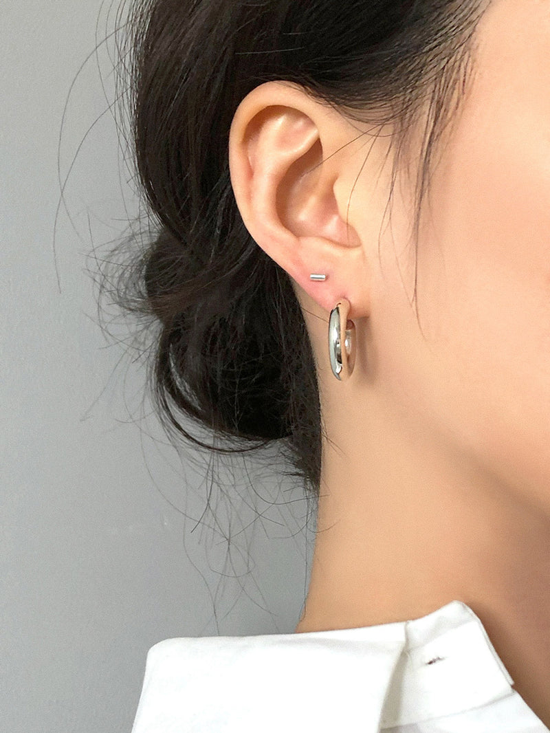 SILVER CHUNKY HOOP EARRINGS