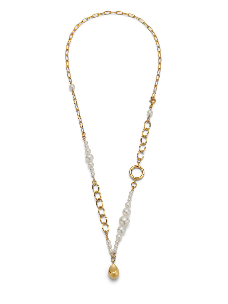 PEARL DROPLET GOLD CHAIN NECKLACE
