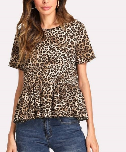Allover Leopard Print Ruffle Hem Top
