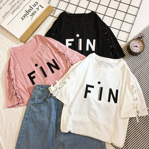 Cotton loose plus size casual summer tops tees