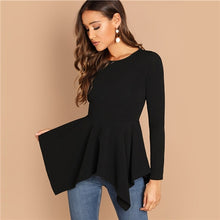 Load image into Gallery viewer, SHEIN Black Asymmetrical Hem Peplum Tee Elegant