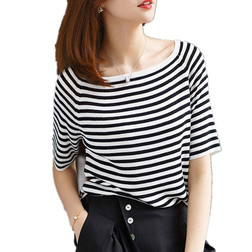 White striped short women's T Shirt