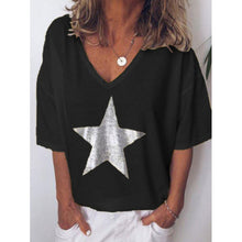 Load image into Gallery viewer, Fashion T shirt Women Sequins V-Neck
