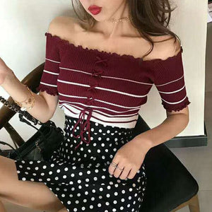 Women's Sexy Slash Neck Striped Tee Shirt
