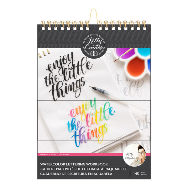 Kelly Creates: Lernblock - Watercolour brush lettering workbook words