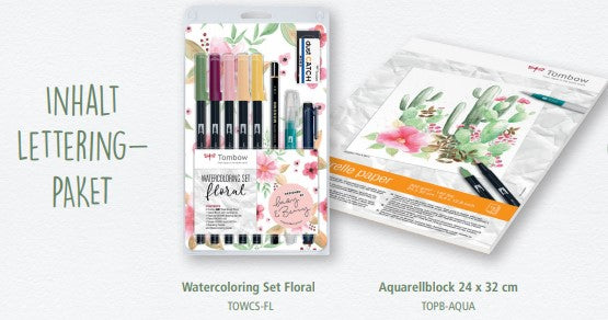 Tombow: Lettering Bundle Watercolouring-Set und Aquarellblock