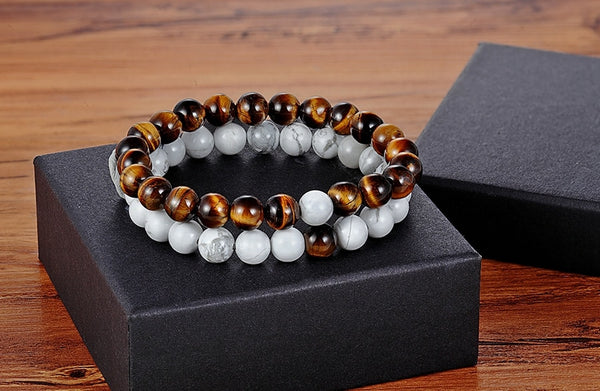 Distance Bracelets - White Tiger Eye