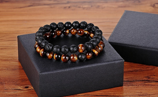 Distance Bracelets - Black Lava Tiger Eye
