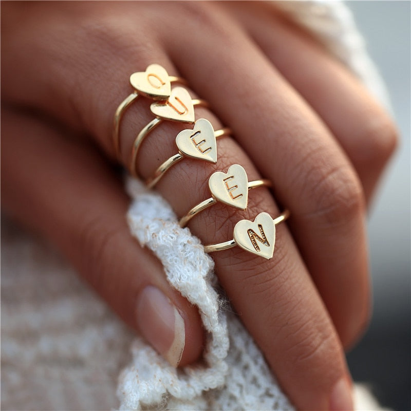 Stamped Stacking A-Z Initial Heart Ring