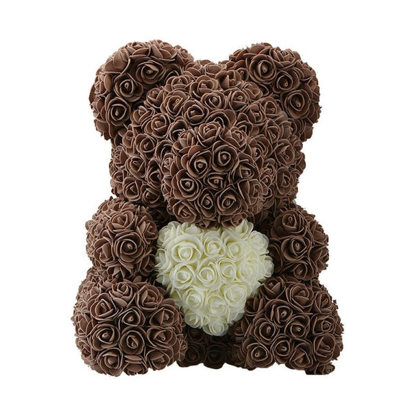 Love Heart Rose Bear (BrownCream)