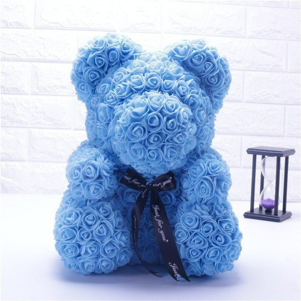 Sky Blue Rose Bear