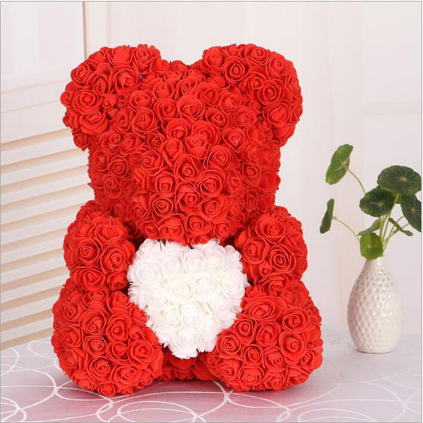 Love Heart Rose Bear (RedWhite)