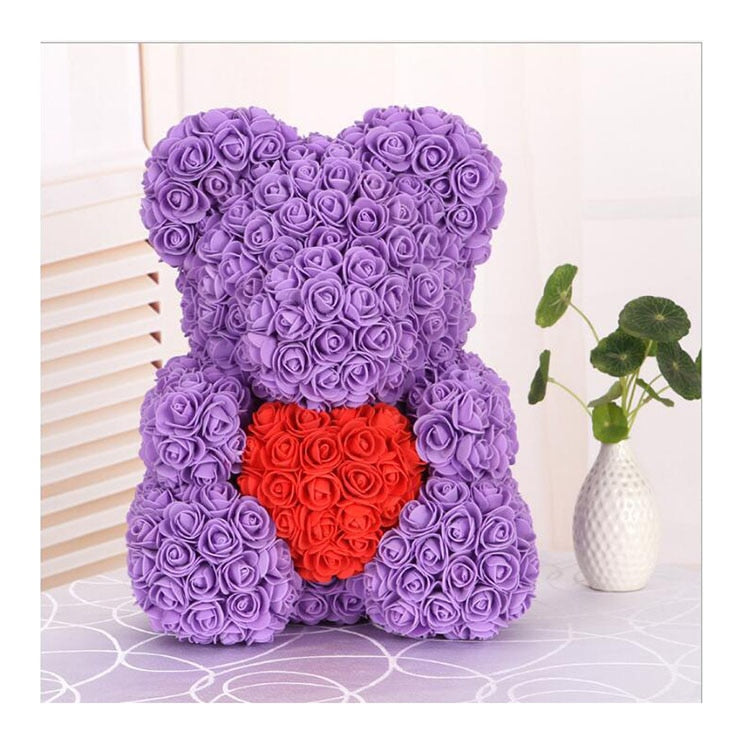Love Heart Rose Bear (PurpleRed)
