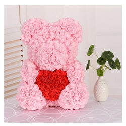 Love Heart Rose Bear (PinkRed)