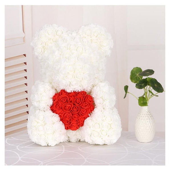Love Heart Rose Bear (WhiteRed)