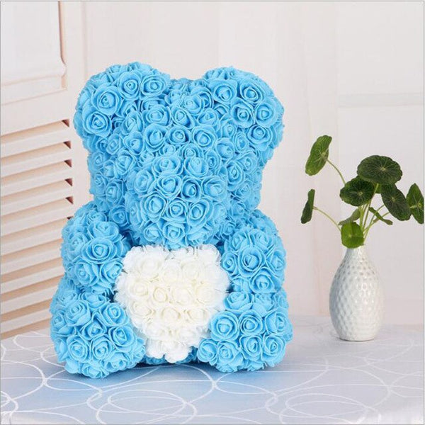 Love Heart Rose Bear (BlueWhite)