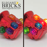 Red Infinity Gauntlet with Light-up Stones - LEGO  Components - Elegant Bricks
