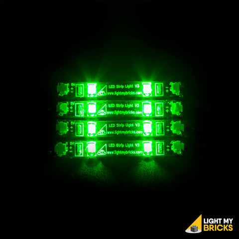 LED Strip Lights - Green (4 Pack) - LEGO  Components - Elegant Bricks