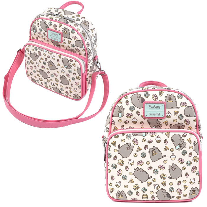 PUSHEEN SNACKIES AOP CONVERTIBLE MINI BACKPACK X LOUNGEFLY