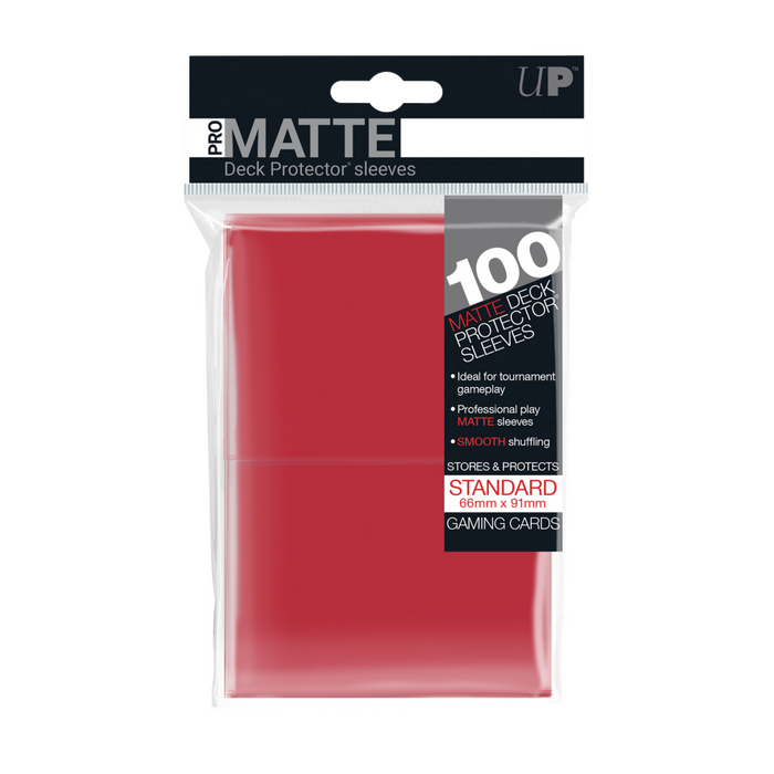 100ct Pro-Matte Red Standard Deck Protectors sleeves