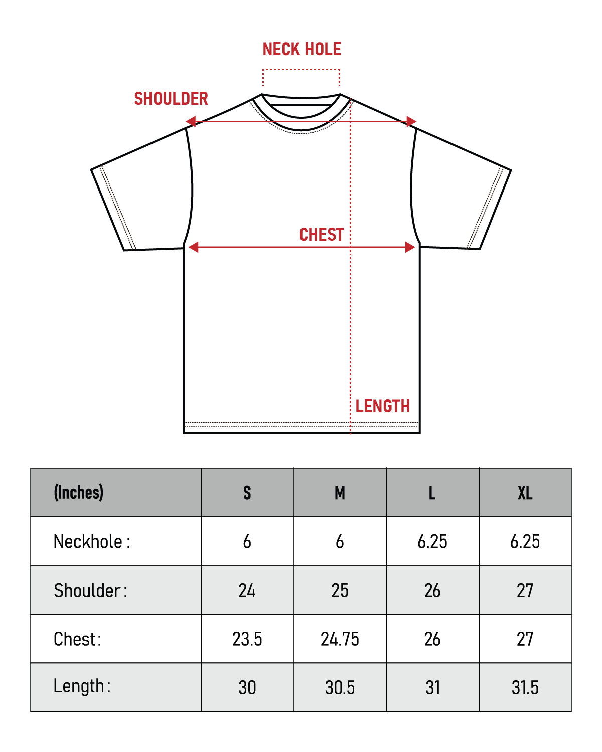 Lux Tee Sizing Chart
