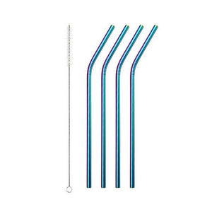 Rainbow Stainless Steel Drinking Straw - Bend 4 Pack