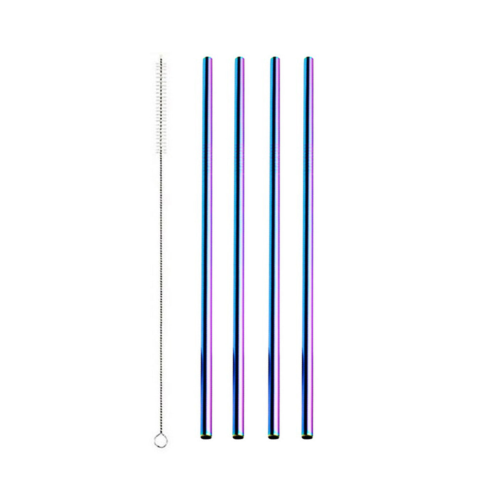 Rainbow Stainless Steel Drinking Straw - Straight 4 Pack