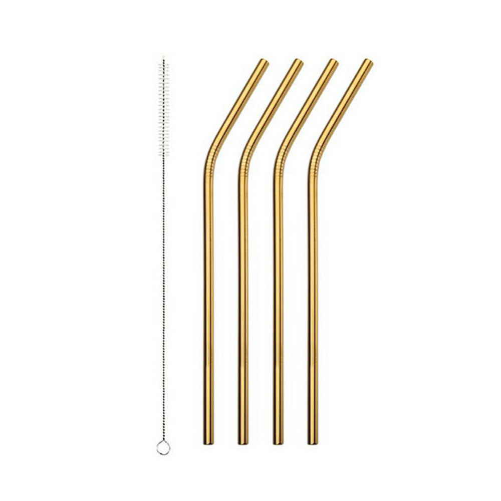 Gold Stainless Steel Drinking Straw - Bend 4 Pack