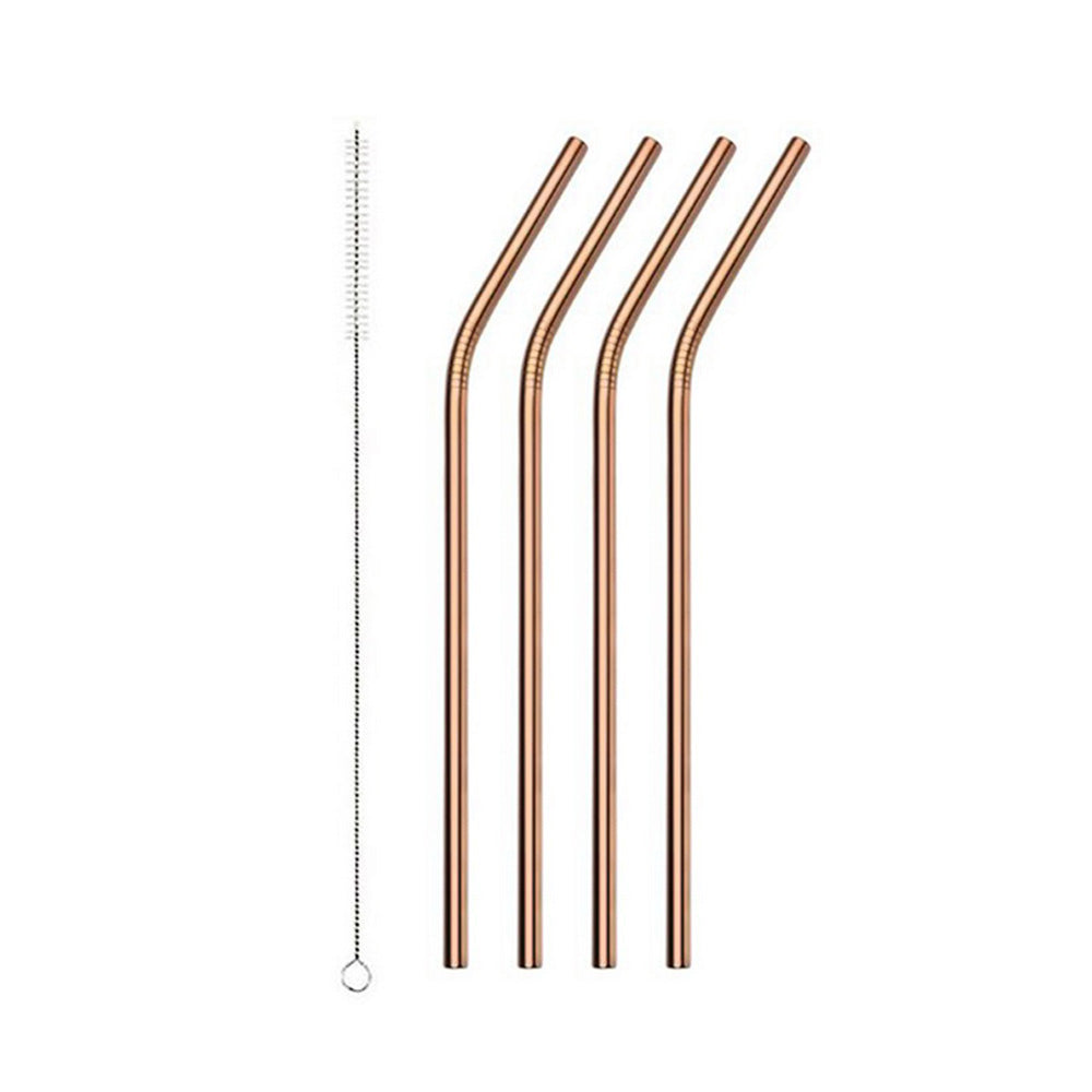 Rose Gold Stainless Steel Drinking Straw - Bend 4 Pack