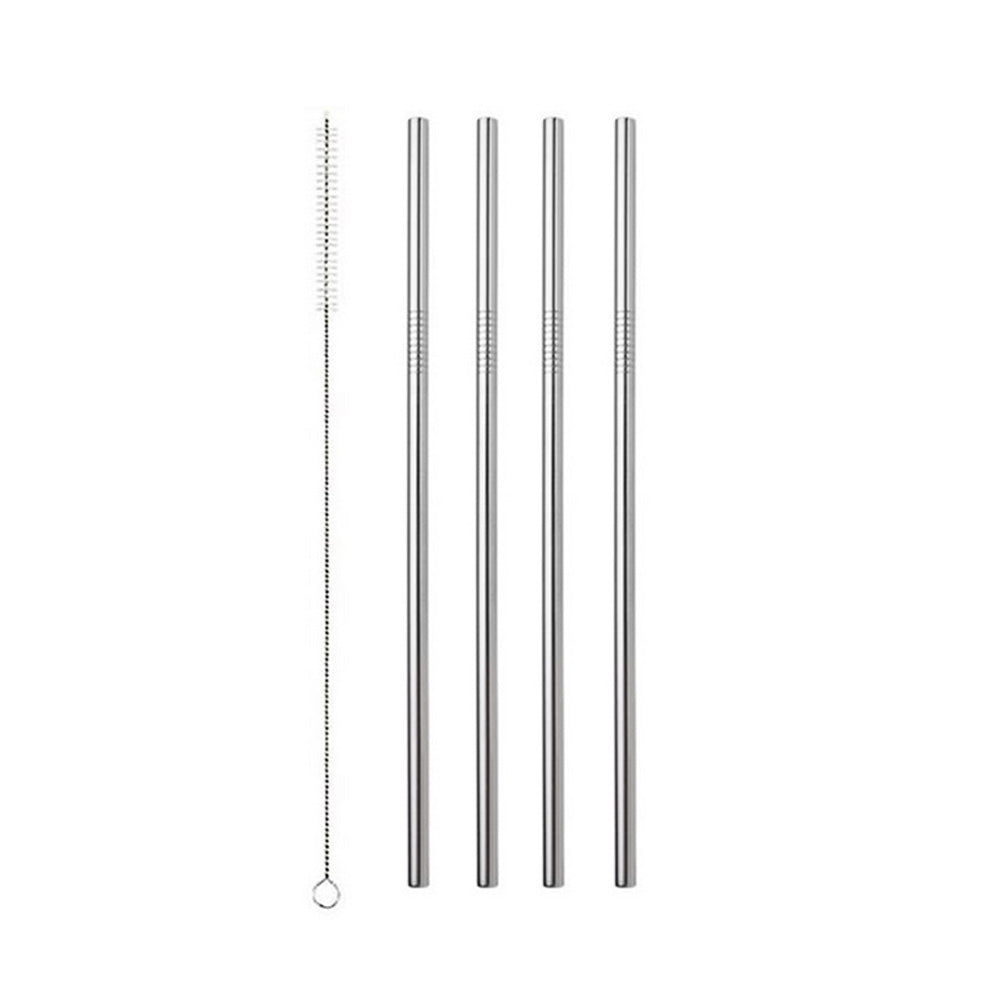 Silver Stainless Steel Drinking Straw - Straight 4 Pack