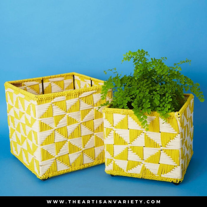 India Small Yellow Charpoy Cube Planter