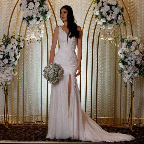 Alluring wedding dress with front slit