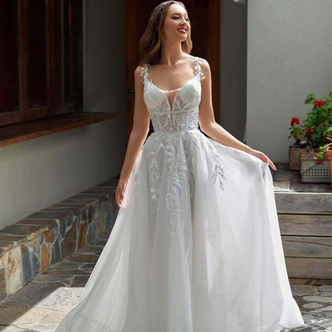 Princess A-line wedding gown that has a beautiful open back