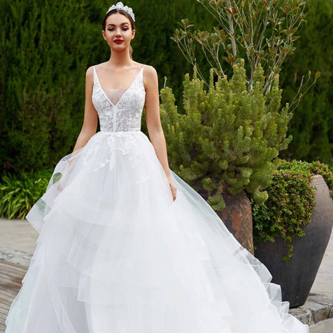 Big  A- line gown with stunning layered skirt