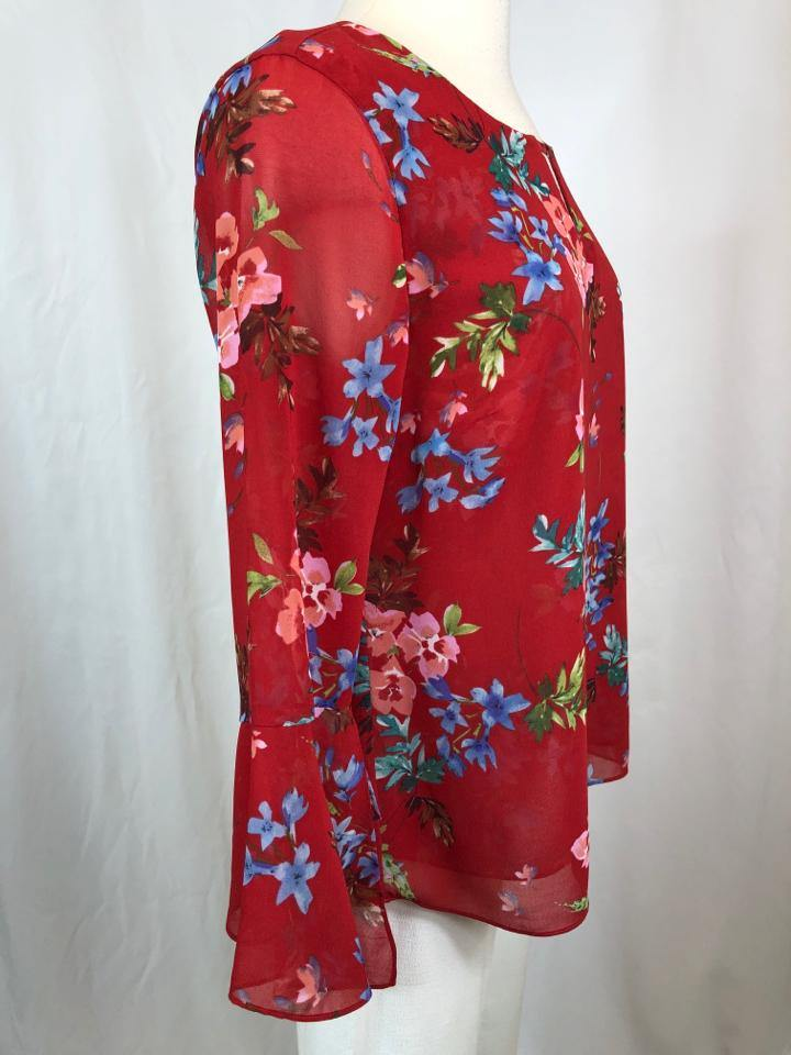 CABI Women Size S RED FLORAL Top