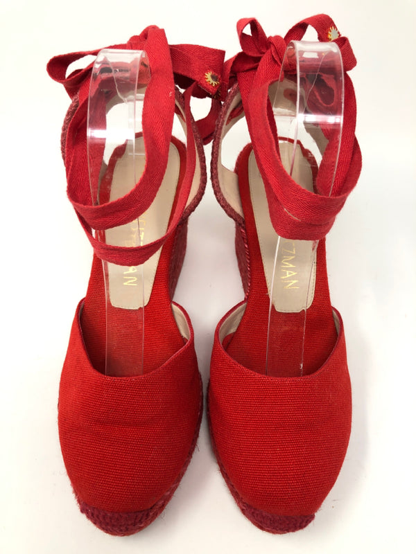 STUART WEITZMAN Women Size 8.5 Red Wedge