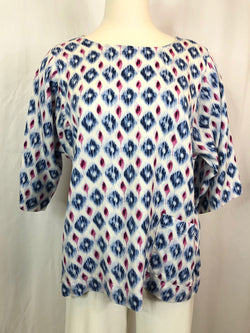 J JILL Women Size XS BLUE AND PINK PRINT Top