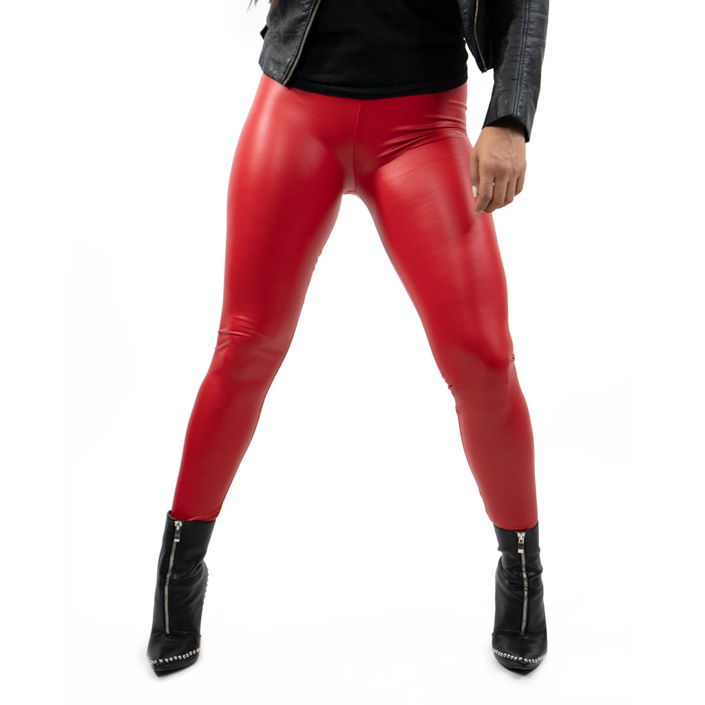 leggings vinipiel rojo