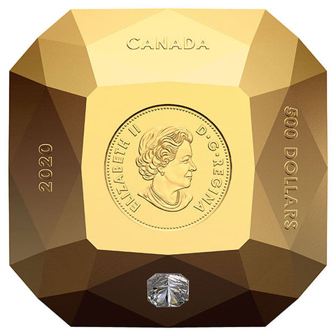 2020 $500 Pure Gold Diamond Shaped Coin: Forevermark Diamond