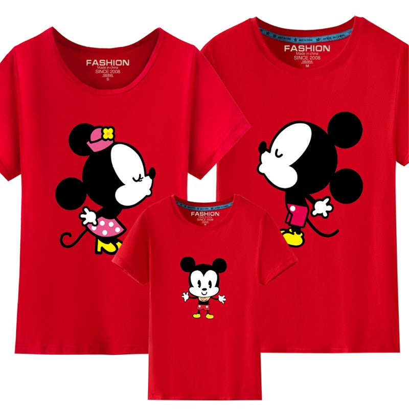 Big Size Kids T Shirt for Daddy and Baby Clothes Family Matching Outfits Summer Shirts Tops Tee  Minnie Character Shirt - Aanvi's Store
