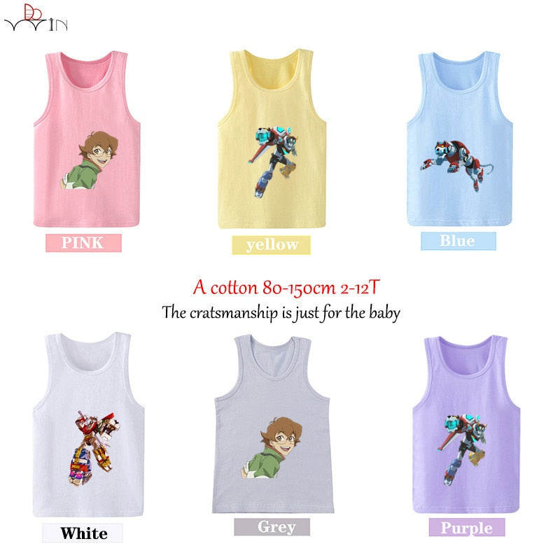 2019 Summer Voltron Defenfer  Cartoon Boys Girls T-Shirts Kids sleeveless Child   Print Tops  vest - Aanvi's Store