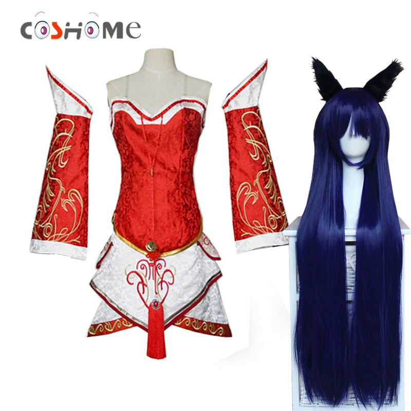 Cosplay Costumes The Nine-Tailed Fox Red Dress with wig - Aanvi's Store