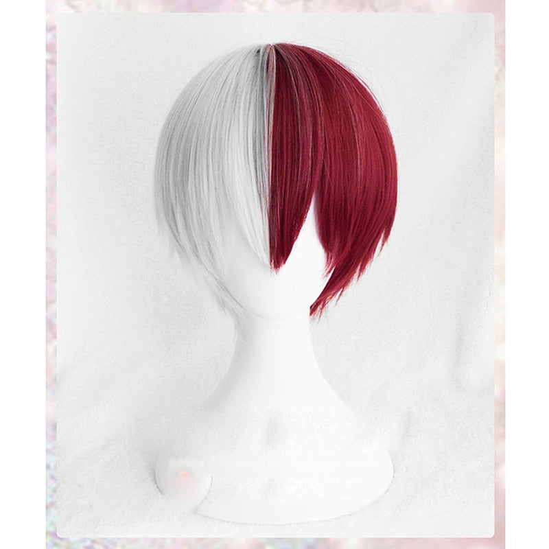 My Hero Academia Boku Shoto Todoroki White And Red Cosplay Wig+Wig Cap - Aanvi's Store