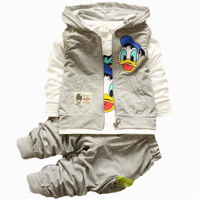 Baby Boys Girls 3pcs Clothing Sets Children Kids Cartoon Garfield Hooded Vest Coat Jacket T Shirt Pants Donald Duck Clothes Set - Aanvi's Store
