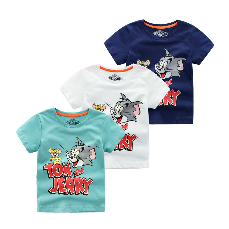 2019 Summer New Boys Short Sleeve T Shirts Cartoon Tom And Jerry T-shirt Boy Kid Toddler Boys Tops Baby Shirt - Aanvi's Store