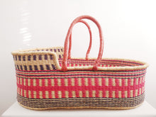 Mauve and Pink Patterned Woven Baby Moses Basket