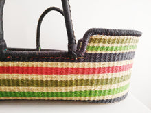 Multicolour Stripe Patterned Woven Baby Moses Basket