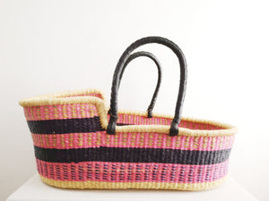 Pink and Navy Patterned Woven Baby Moses Basket