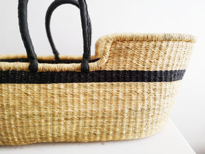 Black Stripe Woven Baby Moses Basket